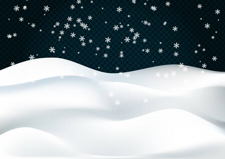 Snowy landscape isolated on dark transparent background. Vector illustration of winter decoration. Snow background. Snowdrift. Concept of Merry Christmas and Happy New Year.