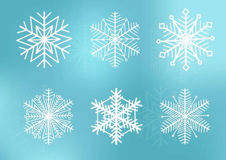 Cute snowflakes collection isolated on blue background. Snow flakes. Snow element for christmas banner, cards. New year ornament. Stock Illustratie