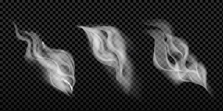 Smoke isolated on dark transparent background. Vector fog, vapor set. Vector illustration Фото со стока - 132972853