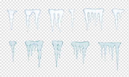 Set of translucent light blue icicles on white background. Vector illustration Stock Illustratie