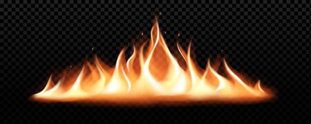 Realistic fire flames on transparent black background Stock Illustratie
