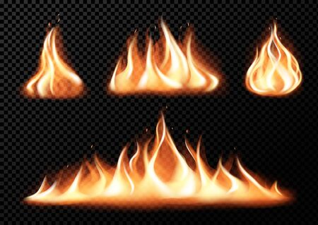 Set of realistic fire flames of various size with sparks on black  transparent background isolated vector illustration Reklamní fotografie - 132993436