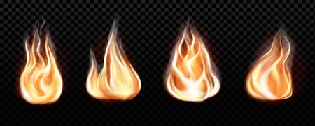 Fire flame realistic set of horizontal burning bonfires isolated on black transparent background. Vector illustration