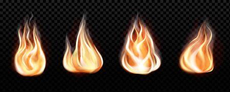 Fire flame realistic set of horizontal burning bonfires isolated on black transparent background. Vector illustration Reklamní fotografie - 132993592