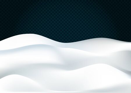 Snowy landscape isolated on dark transparent background. Vector illustration of winter decoration. Snow background. Snowdrift. Concept of Merry Christmas and Happy New Year. Фото со стока - 132993489
