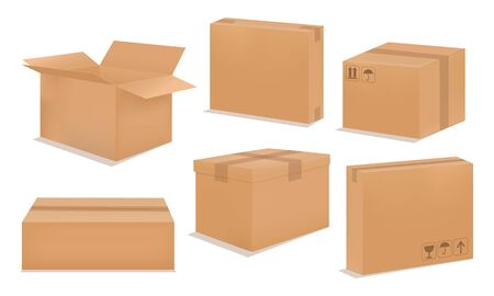 Cardboard box mock up. Set realistic Brown box. Фото со стока - 133106279