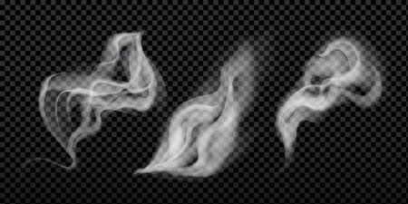 Smoke isolated on dark transparent background. Ilustracja