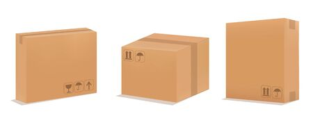 Cardboard box mock up. Set realistic Brown box.
