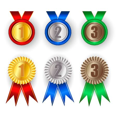 Gold Medal Vector. Golden 1st 2 st 3 st Place Badge. Sport Game Golden Challenge Award. Red Ribbon. Фото со стока - 133106526