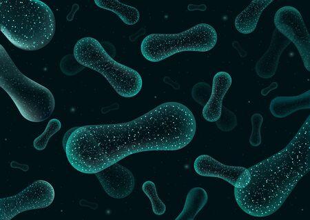 Bacteria 3D low poly render probiotics. Healthy normal digestion flora of human intestine yogurt production. Microscopic bacteria closeup. Illustration