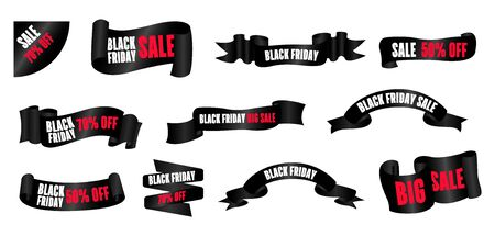 Black Friday. Web banners set, emblem and label. Friday holiday sales on Friday. Ilustracja