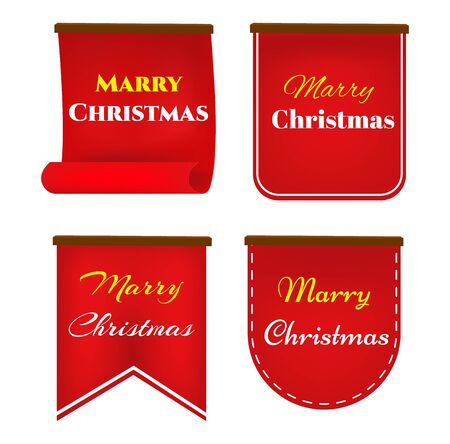 Scroll red, Merry christmas banners set, Paper scrolls, Ribbons, stickers. Banner with a congratulation. Stock Illustratie