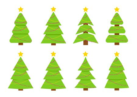 Winter colorful collection of Christmas trees. Can be used for greeting card, invitation, banner, web design. Ilustracja