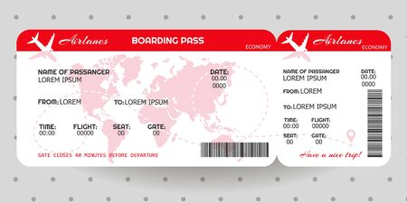 Airplane ticket. Boarding pass ticket template. Concept of travel, journey or business. Vector illustration Ilustracja