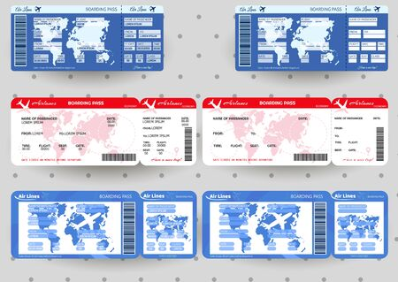 Airplane ticket. Boarding pass ticket template. Concept of travel, journey or business. Stock Illustratie