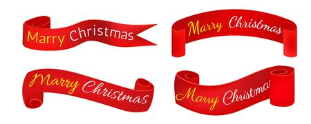 Scroll red, Merry christmas banners set, Paper scrolls, Ribbons, stickers. Banner with a congratulation. Ilustracja