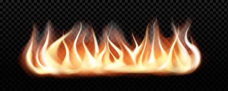 Realistic burning fire flames, vector effect for design. Transparent  black background.