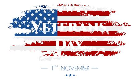 Veterans day. Poster or banner veterans day with U.S.A flag background.