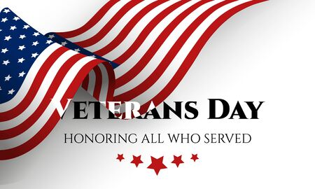 Happy Veterans Day lettering with USA flag. November 11th, United state of America, USA veterans day design. Celebration poster with stars and stripes.