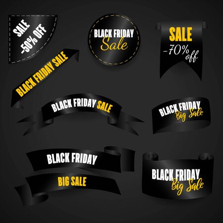 Black Friday. Web banners set, logo, emblem and label. Friday holiday sales on Friday.