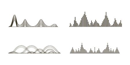Black sound waves. Graphic design elements for financial monitoring, medical equipment, music app. Isolated vector illustration. Stock Illustratie