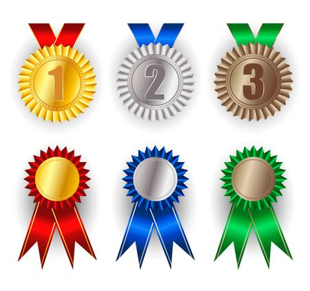 Set of gold, silver and bronze award medals. Winner award icon. Best choice badge.