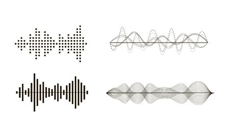 Black sound waves. Graphic design elements for financial monitoring, medical equipment, music app. Isolated vector illustration. Ilustracja