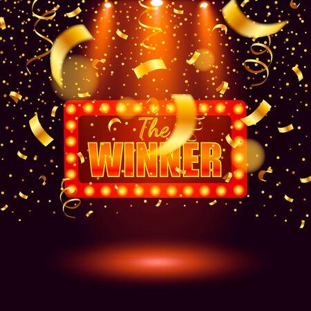 Bannière gagnante, gagnant des rubans tombants. Illustration de fond de prix de jackpot de jeu de loterie de gagnants.