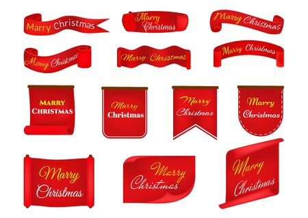 Scroll Red, Merry Christmas, realistic, paper banners. Banner with a congratulation.