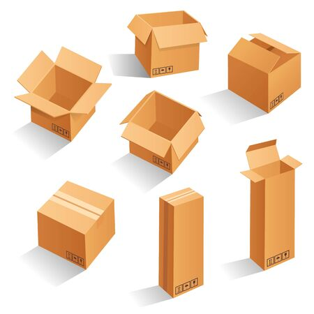 Cardboard box mock up set. open and closed mock up, isolated on white background. Realistic illustration