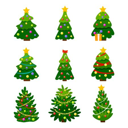 Different Christmas tree set, vector illustration. Can be used for greeting card, invitation, banner, web design. Christmas trees isolated on white background. Vector Фото со стока - 133065527