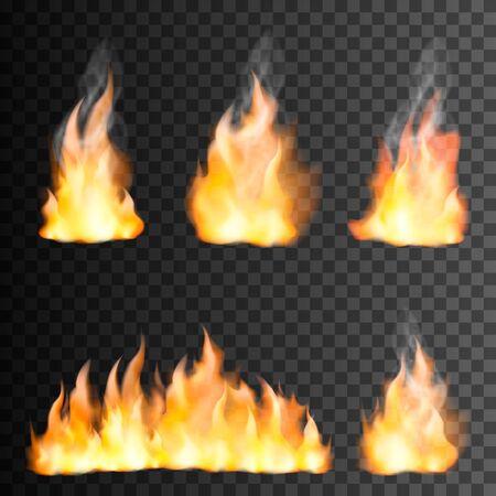 Conjunto realista de llama de fuego de elementos brillantes pequeños y grandes sobre fondo negro transparente aislado ilustración vectorial