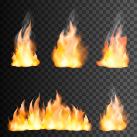 L'insieme realistico della fiamma del fuoco di piccoli e grandi elementi luminosi su fondo nero trasparente ha isolato l'illustrazione di vettore