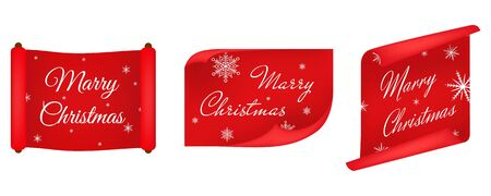 Vector, red merry christmas banners set, Paper scrolls, Ribbons, stickers. Banner with a congratulation. Vector illustration. Stock Illustratie