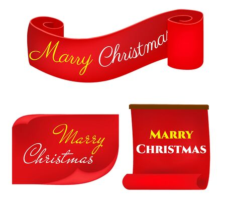 Scroll red, Merry christmas banners set, Paper scrolls, Ribbons, stickers. . Фото со стока - 133108304
