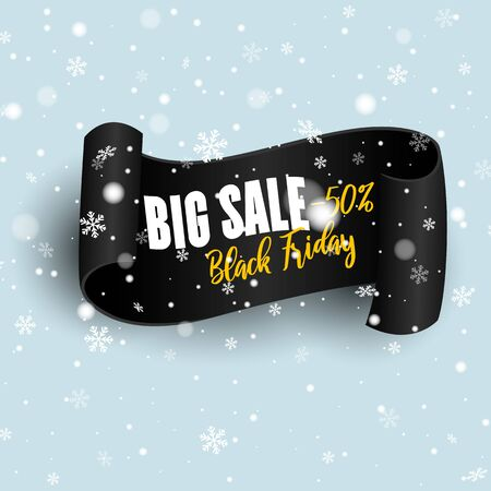 Black realistic curved paper banner. Ribbon. Black friday sale.  Black friday winter sale. Ilustracja