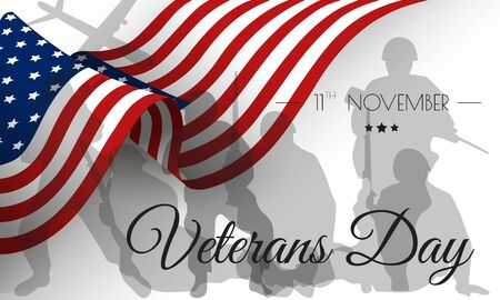 Veterans day. Honoring all who served. Veterans day illustration with American flag and soldiers