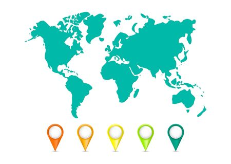 Color world map vector modern. Collection of 3D map pointers with world map