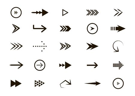 Set of black arrows. Arrow icon. Collection of concept arrows for web design, mobile apps, interface and more. Stock Illustratie