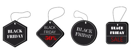 Black Friday sale black tag, banner, advertising. Black tag on the rope. Stock Illustratie