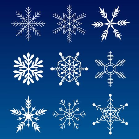 Collection snowflakes. Flat snow icons, silhouette. Nice element for Christmas banner, cards. New year ornament.