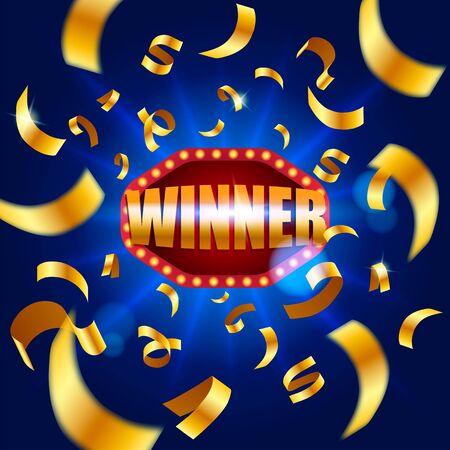 Winner banner, falling ribbons winner. Winners lottery game jackpot prize logo vector background illustration. Vector illustration Archivio Fotografico - 134452810