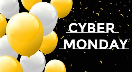 Cyber Monday Sale Background with balloons. Archivio Fotografico - 134452811