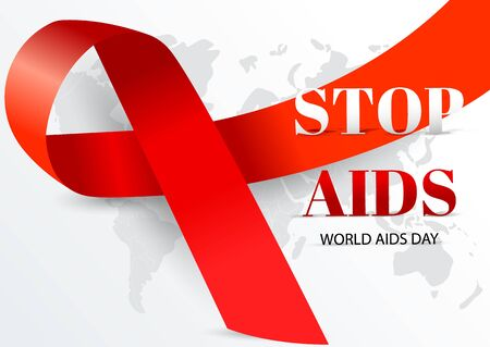 1 December world aids day. Realistic awareness red ribbon on grey map background. Vector illustration Archivio Fotografico - 134452814