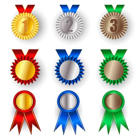 Set of gold, silver and bronze award medals. Winner award icon. Best choice badge. Vector illustration
