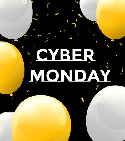 Cyber Monday Sale Background with balloons. Banner for cyber monday event. Vector art for your sale promotion Archivio Fotografico - 134452822