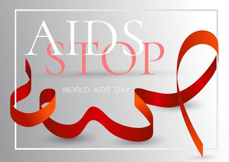 Vector illustration on the theme World Aids Day. Realistic awareness red ribbon on grey map background. Archivio Fotografico - 134452826