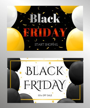 Black Friday Sale Poster with Shiny Balloons for poster, banners, flyers, card. Vector illustration.
