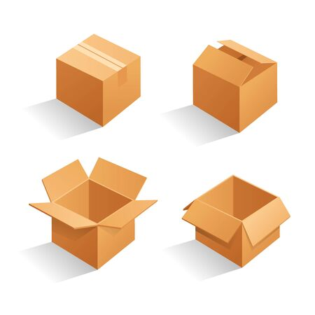 Cardboard box mockup set. open and closed mockup, isolated on white background. Brown delivery set vector. Realistic illustration