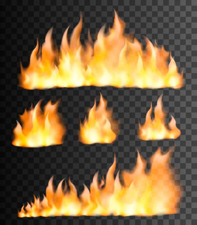 Realistic fire flames set on transparent black background. Vector illustration